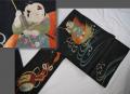 古布 正絹 解き名古屋帯 一寸法師 絽に手刺繍 お細工物 リメイク n-81