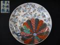 大聖寺伊万里 色絵染付皿 桜と十六弁菊花に蕨手文様 大明萬暦年製 t-1841