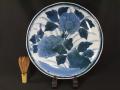 古伊万里 染付 志田窯 大胆華やかに描かれた牡丹文 一尺一寸 大皿  t-1853
