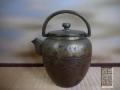 茶道具 時代 正錫 鎚目打出し 水次 薬缶 やかん 水注 口蓋あり  割り手 s-721