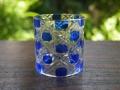 茶道具 切子 硝子 ガラス 蓋置 藍 ブルー 夏のお稽古に 中古美品 g-166