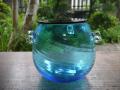 夏の茶道具 琉球ガラス 水指 美ら海を思わせる清く澄んだブルー g-167