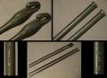 茶道具 飾り火箸2点 龍文造梅文頭銀と龍雲堂立鶴頭 古銅 炭道具 s-723
