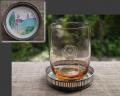 昭和レトロ アンティーク 薔薇図アンバー色ガラスコップと七宝コップ敷 g-175