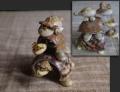 昭和レトロ 貝細工 夏のオブジェ 三段亀 親子孫亀 首振り人形  g-176