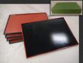 漆器 長角盆5枚 両面盆 黒と朱色 千筋 尺三寸 懐石膳 木製 k-380