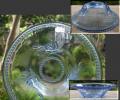 アンティーク ブルーの硝子鉢 涼しげで爽やか 薔薇と水玉 g-177