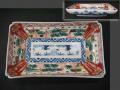 古伊万里 色絵 隅切長皿 その2 松に流水・網干・波・千鳥 t-1932