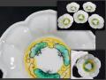 色絵 桔梗形 豆皿 5客 黄釉と緑釉の松雲文見込み 繊細な陽刻  九谷か t-1946