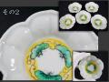 色絵 桔梗形 豆皿 5客 その2 黄釉と緑釉の松雲文見込み 繊細な陽刻  九谷か t-1947