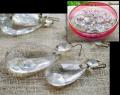 アンティークガラス シャンデリアパーツ ティアドロップ形 大小 50個 金赤ガラス鉢付 y0910